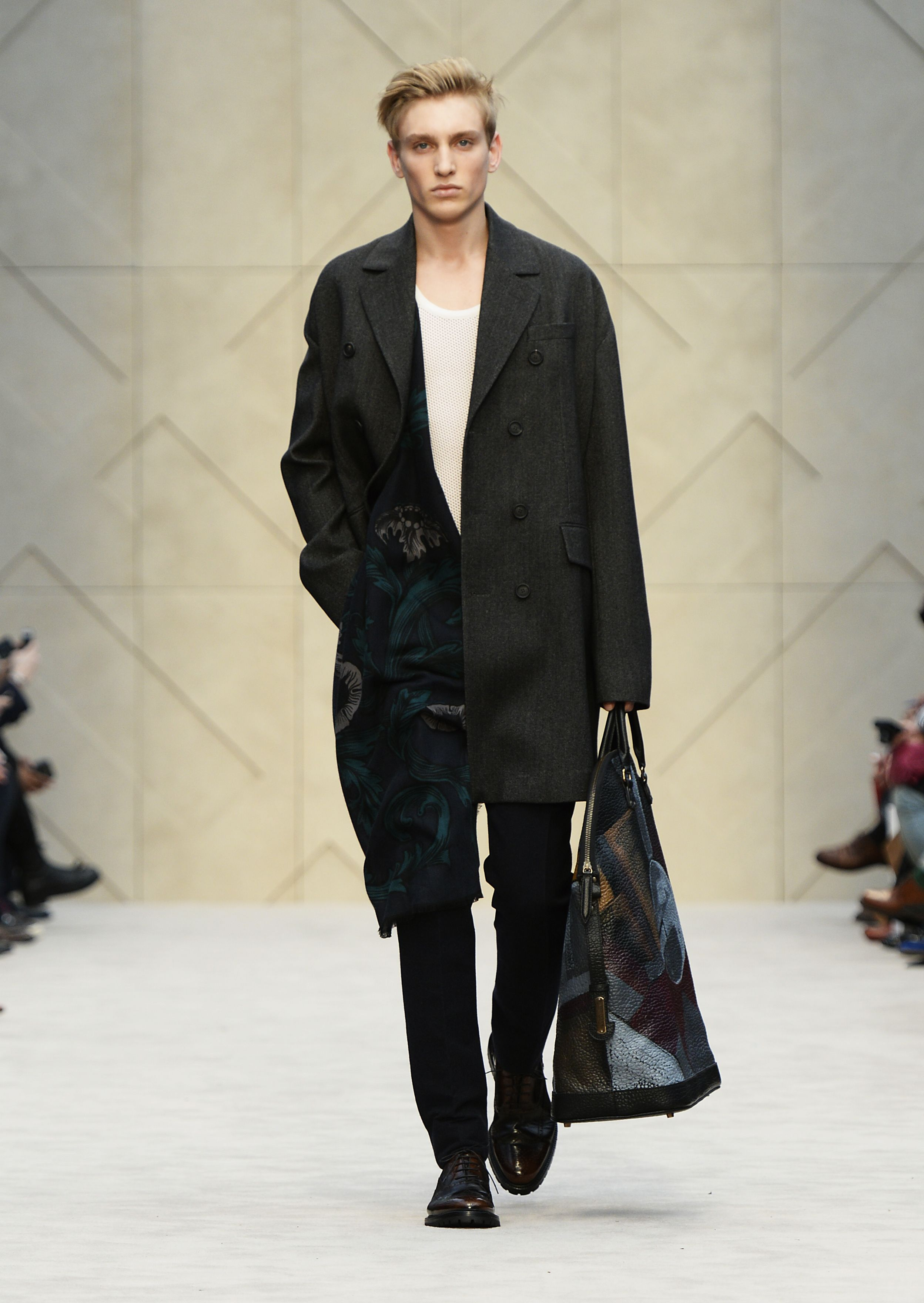 Micro Tweed Chesterfield coat and vine print cashmere scarf with The St Ives bag in hand-painted leather