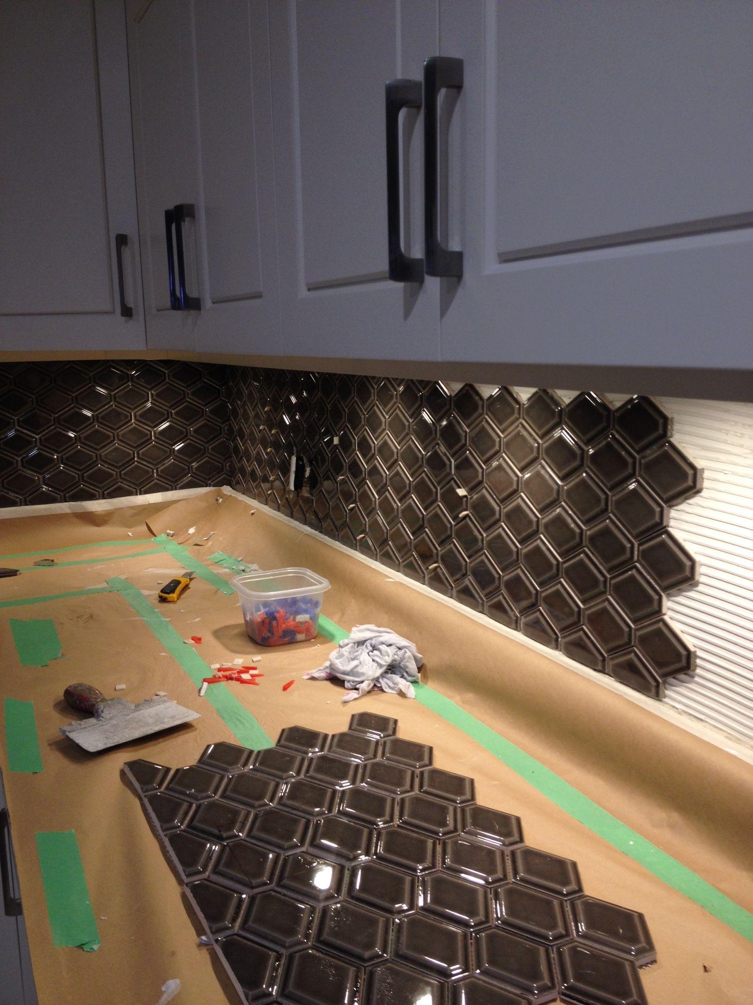 Nova Hex Backsplash Installation In Progress Hex Tiles Kitchen Kitchen Tiles Backsplash Hexagon Tile Floor