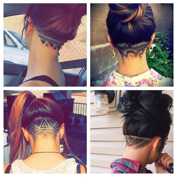 hairstyle. shaved back of head for woman! designed hair for