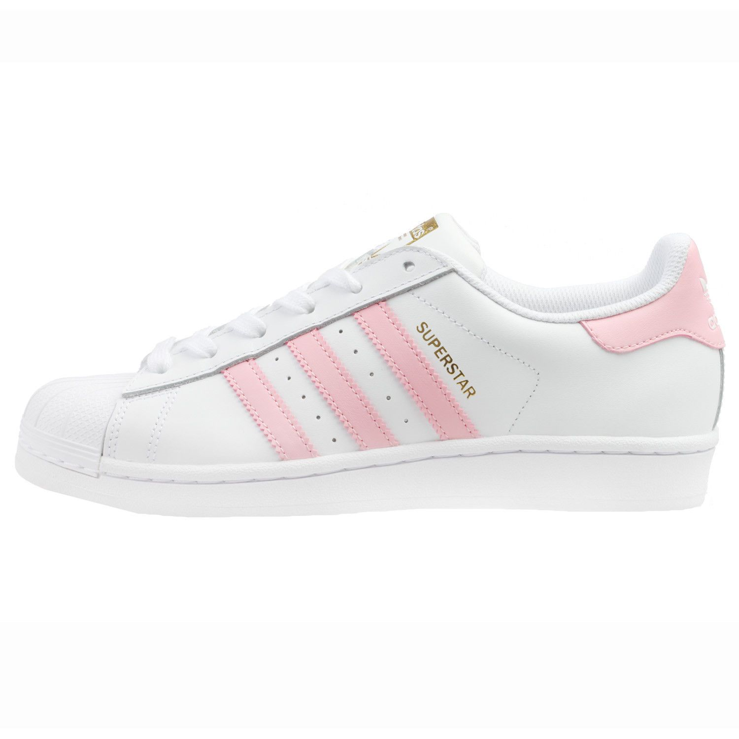 Adidas Superstar Womens By3724 White Pink Gold Leather Shell Toe ...