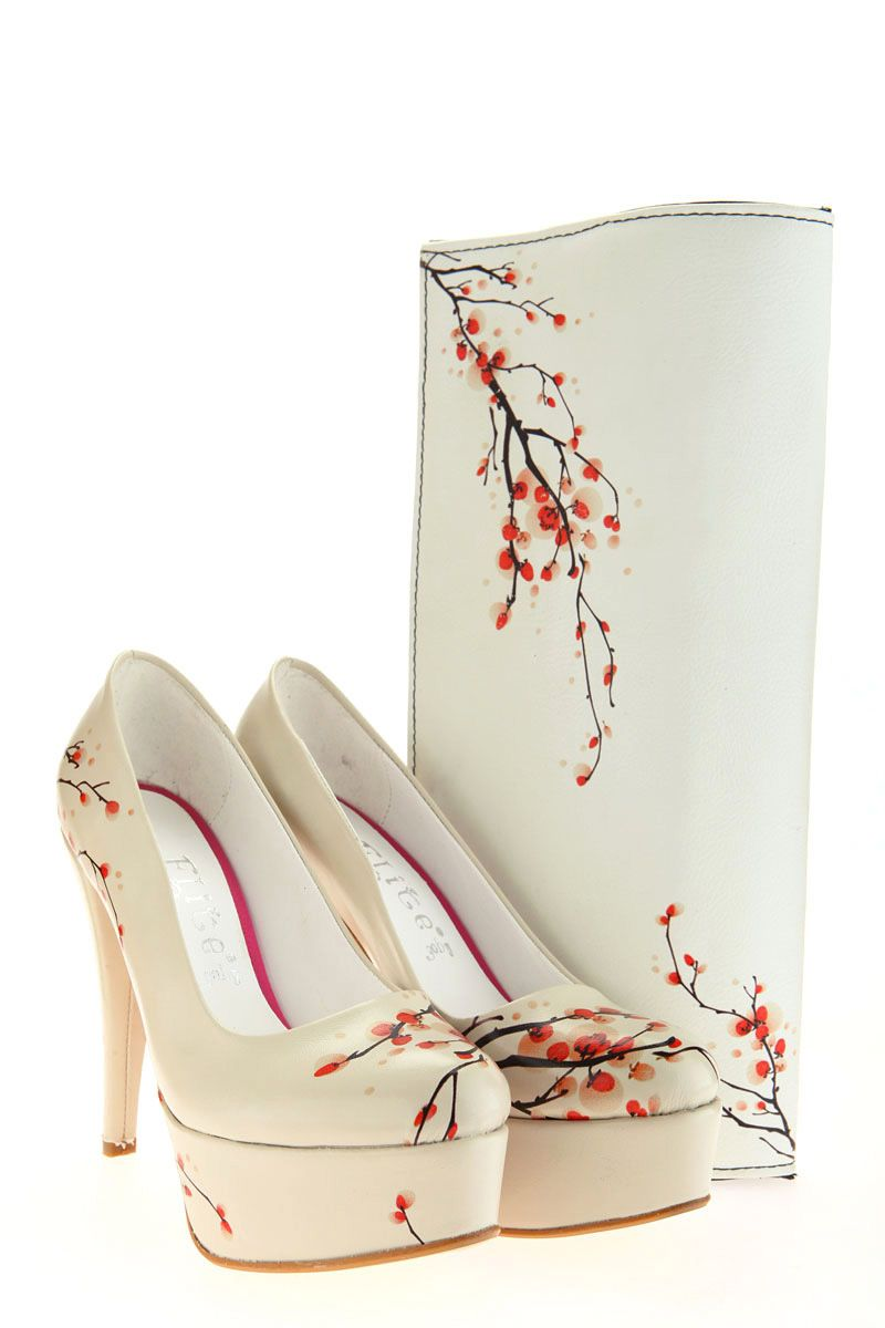 Elite Goby white cherry blossom print shoes and purse set