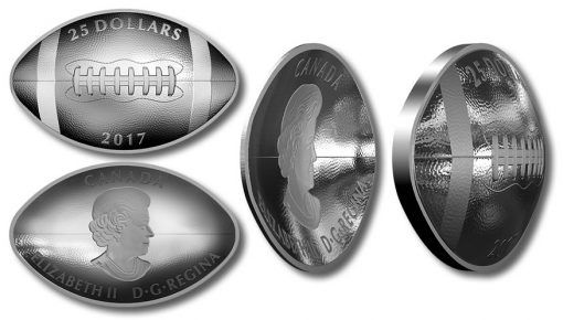 Canadian 2017 $25 Silver Football Coin - reverse, obverse, and side views