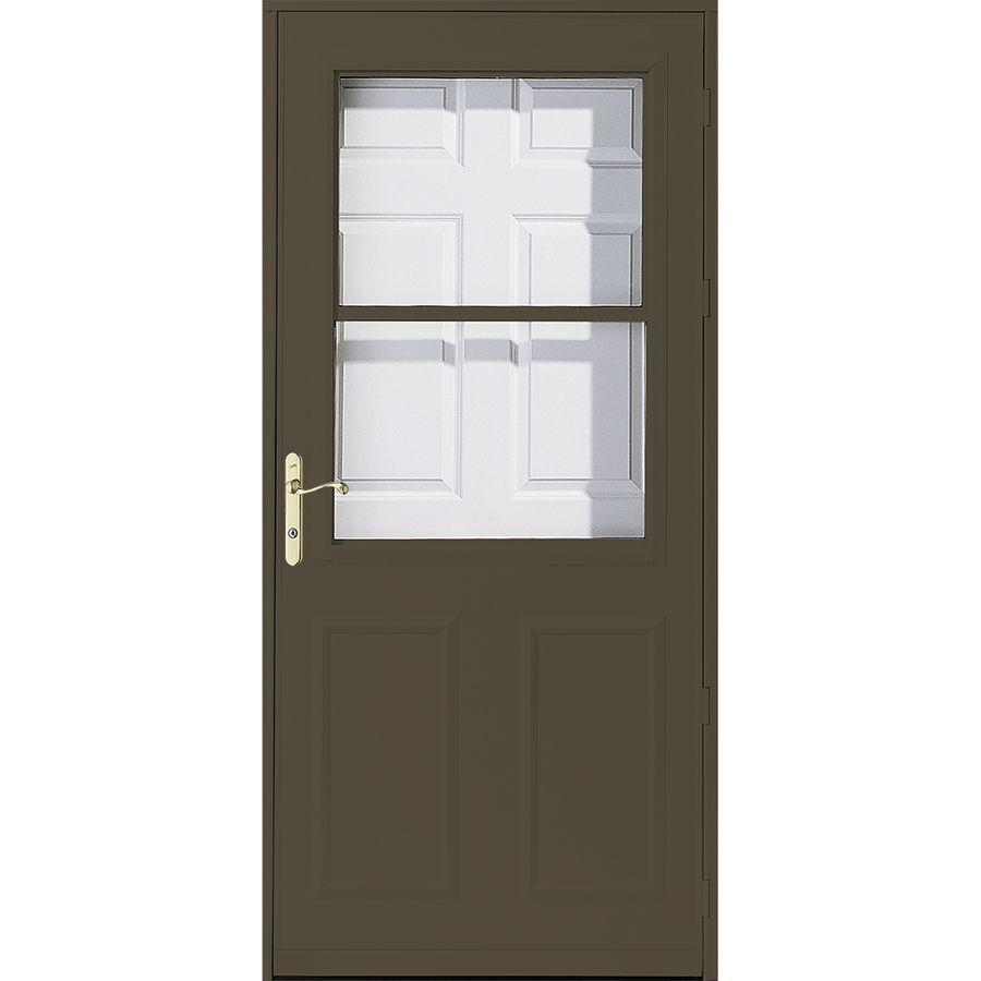 Pella Olympia 32 In X 81 In Brown High View Wood Core Storm Door Lowes Com In 2020 Storm Door Pella Larson Storm Doors