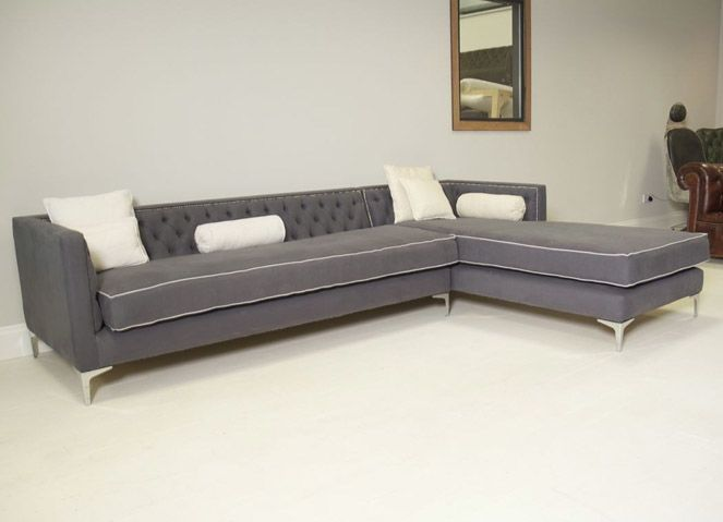 Annabel Corner Chesterfield Sofa: Twisted Grey Linen