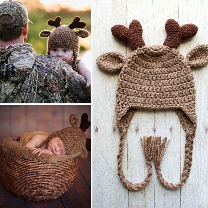 Adorable Crochet Deer Hat | Perros | Pinterest | Kindersachen ...