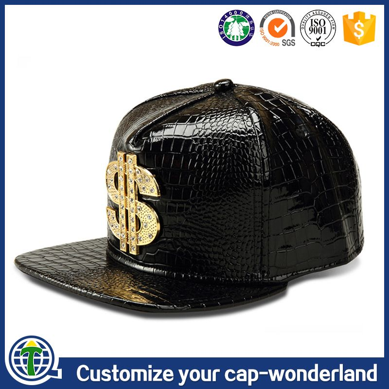 97581cbaab7 Online sell PU leather face flat brim snapback cap customized K products  caps metal plate logo USD sports hats