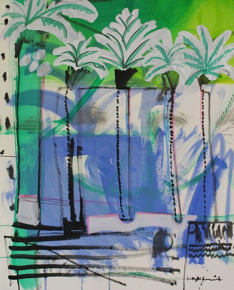 Image of Mural Column Palms Sally King Benedict