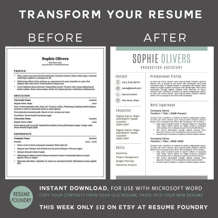 Modern Resume Template For Word, 1-3 Page Resume + Cover