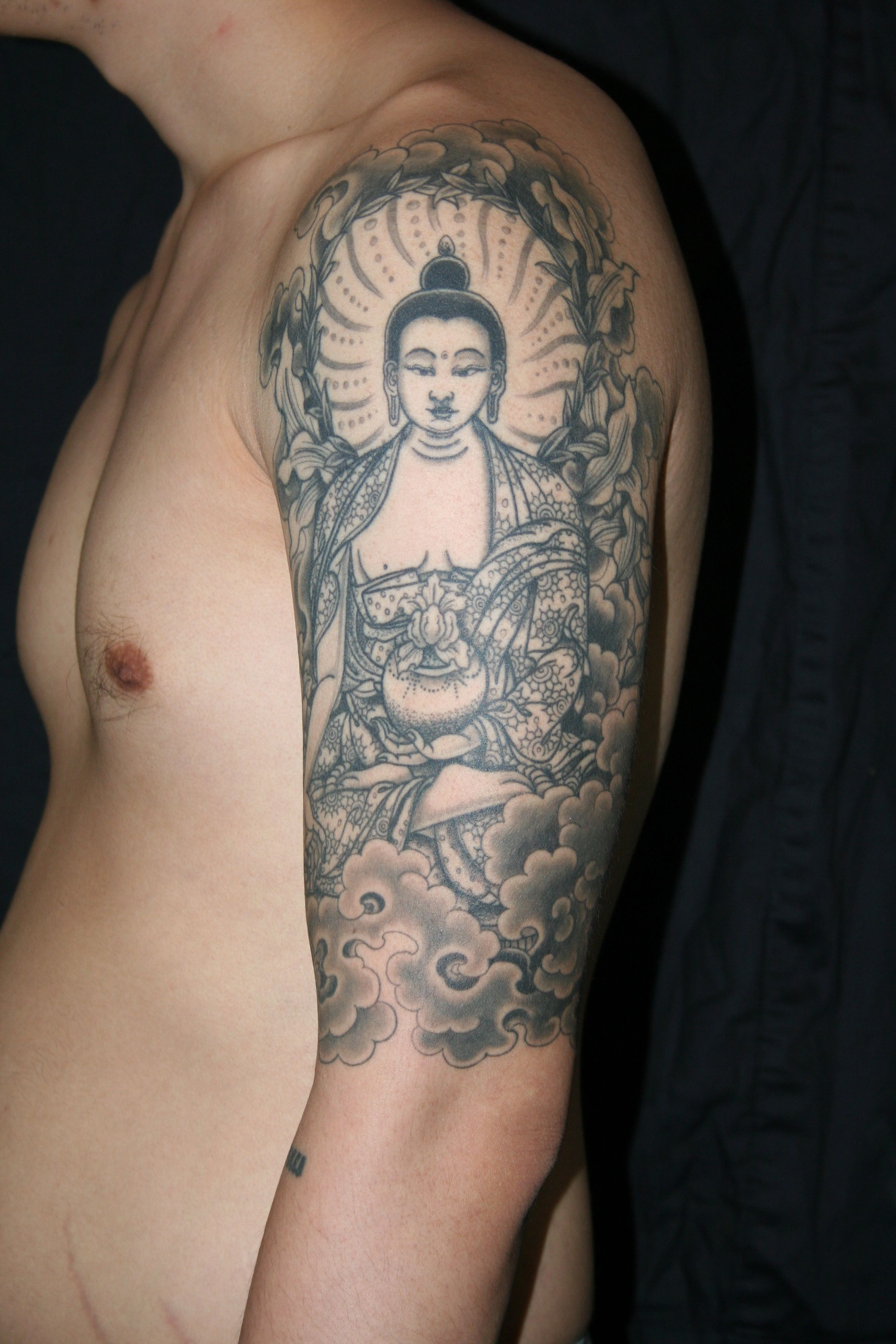 Attractive Man Left Half Sleeve Buddhist Tattoo | Buddhist Tattoo ... for Gautam Buddha Face Tattoo  545xkb