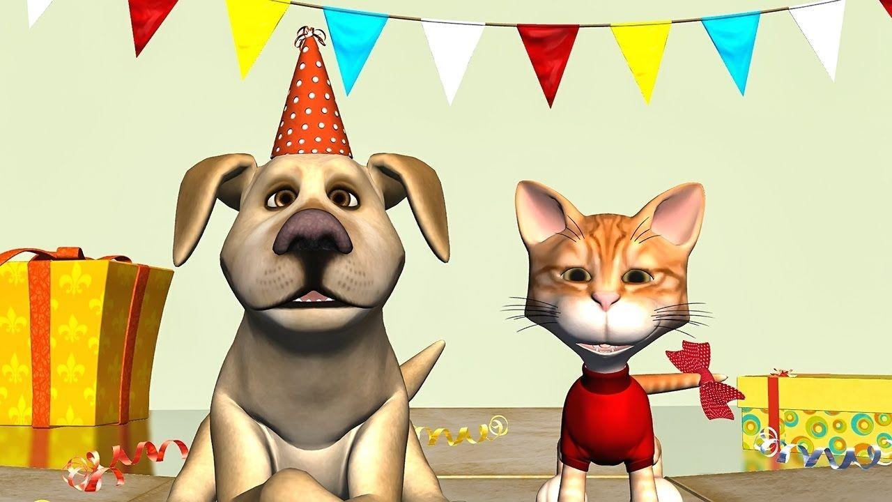 Funny Happy Birthday Song. Cat and Dog sing Happy Birthday