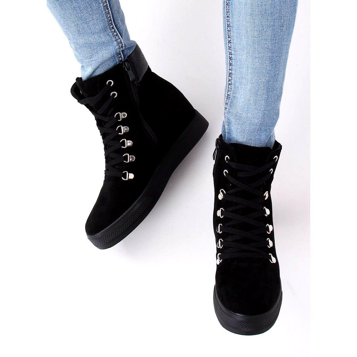 Botki Na Ukrytym Koturnie Czarne Rq216 Serpentine Shoes High Top Sneakers Sneakers