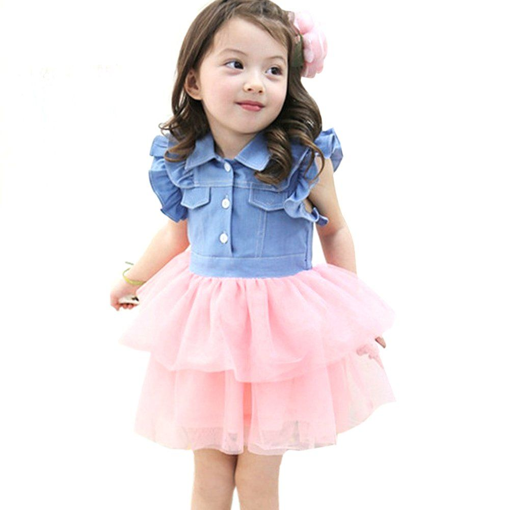 1385c56cb3f Amazon.com: Urparcel Baby Girl Tutu Denim Dress Short Sleeve Lace Princess  Party Skirts 1-6y: Clothing