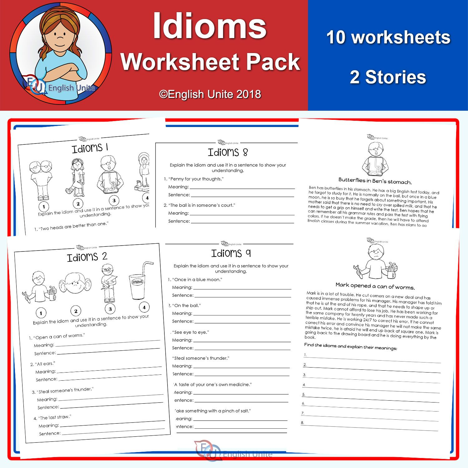 Idiom worksheets - 12 pack - English Unite   Parts of speech worksheets [ 1500 x 1500 Pixel ]