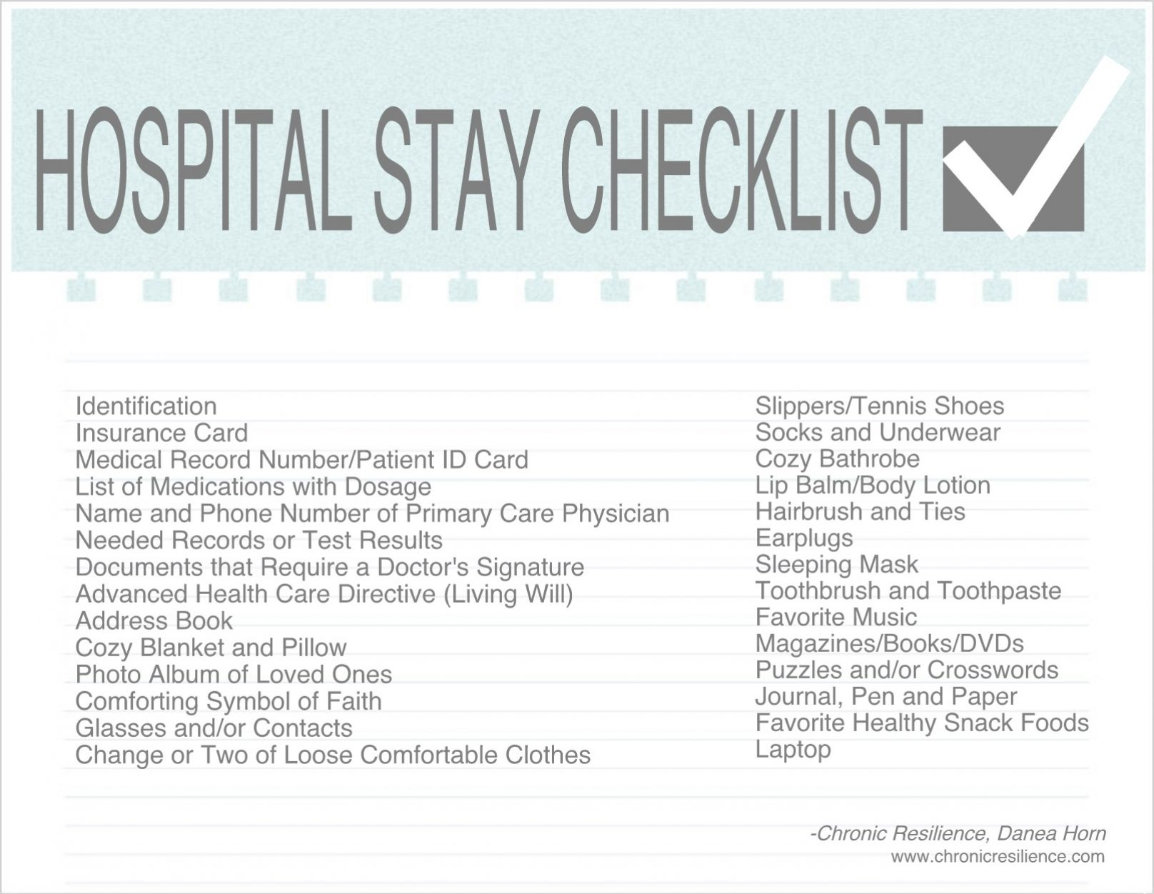 Hospital Stay Checklist