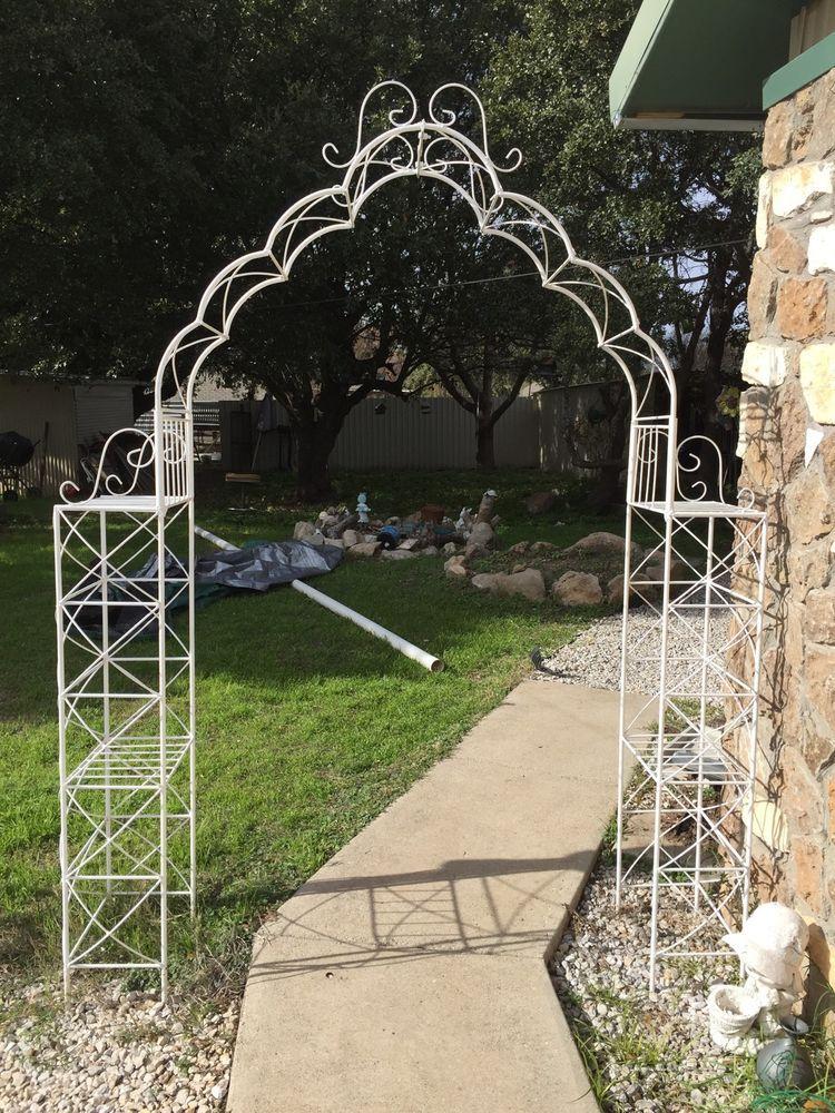 Wrought Iron Garden Arbor Metal Arch Shelves Wedding