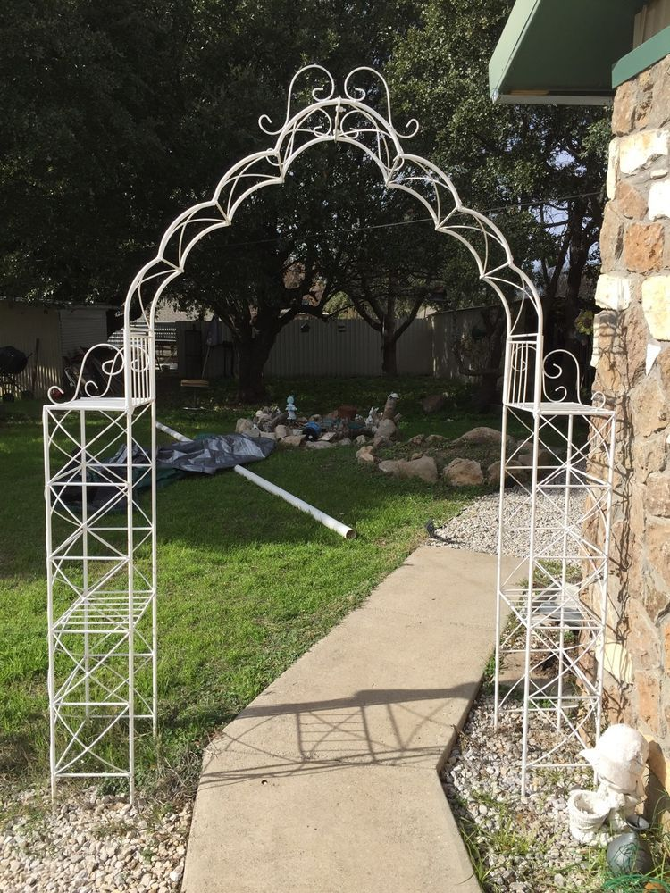 Captivating Wrought Iron Garden Arbor, Metal Arch   Shelves   Wedding   Sturdy