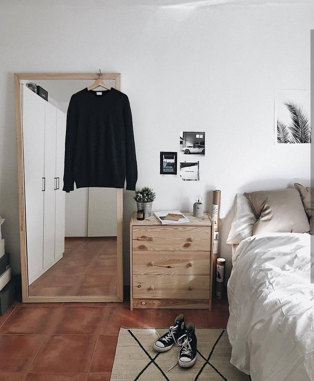 Bedroom | Simple Full length mirror. Unfinished wood Small ...