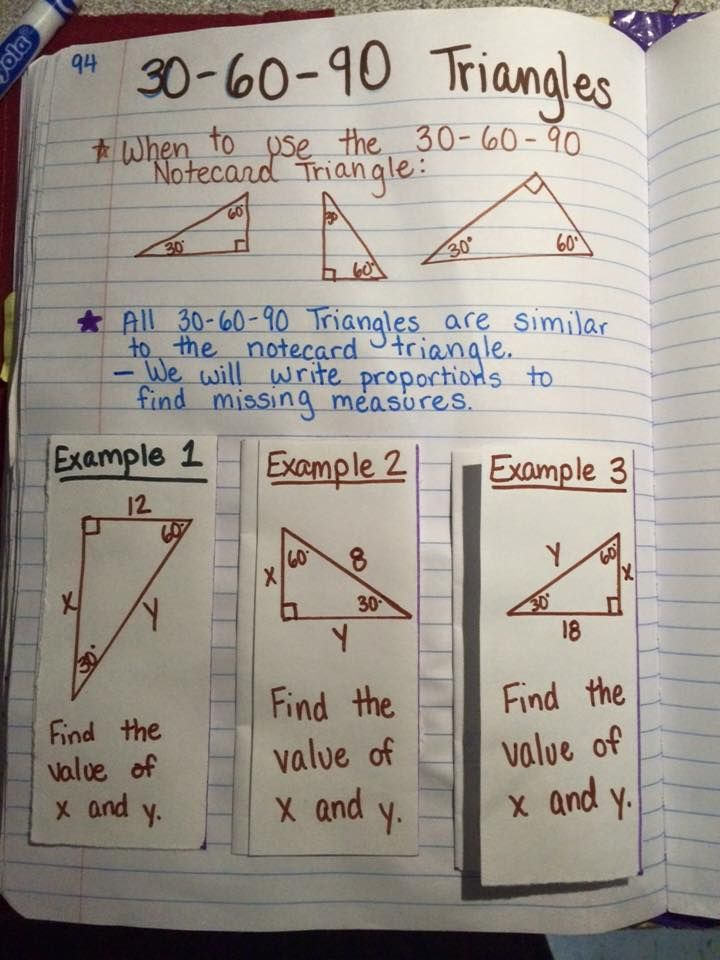 I Teach Special Right Triangles Using Proportions My Students Create 2 Notecards One With A 45 45 90 Unit Tr Special Right Triangle Math Notebooks Math Notes