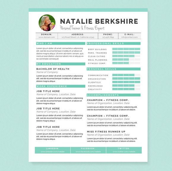 nice Turquoise Resume Template Package Templates Pinterest