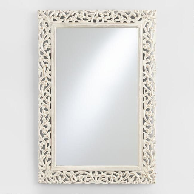 Scrolled Floral And Vine Motif Metalwork Frame With An Antiqued Whitewash Finish And Gently Curved Silhouette Give Our Unique Picture Frames White Wash Mirror