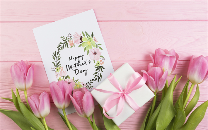 Wallpapers mothers day 2018 greeting card pink tulips spring download wallpapers mothers day 2018 greeting card pink tulips spring flowers gift pink silk bow pink flowers mightylinksfo
