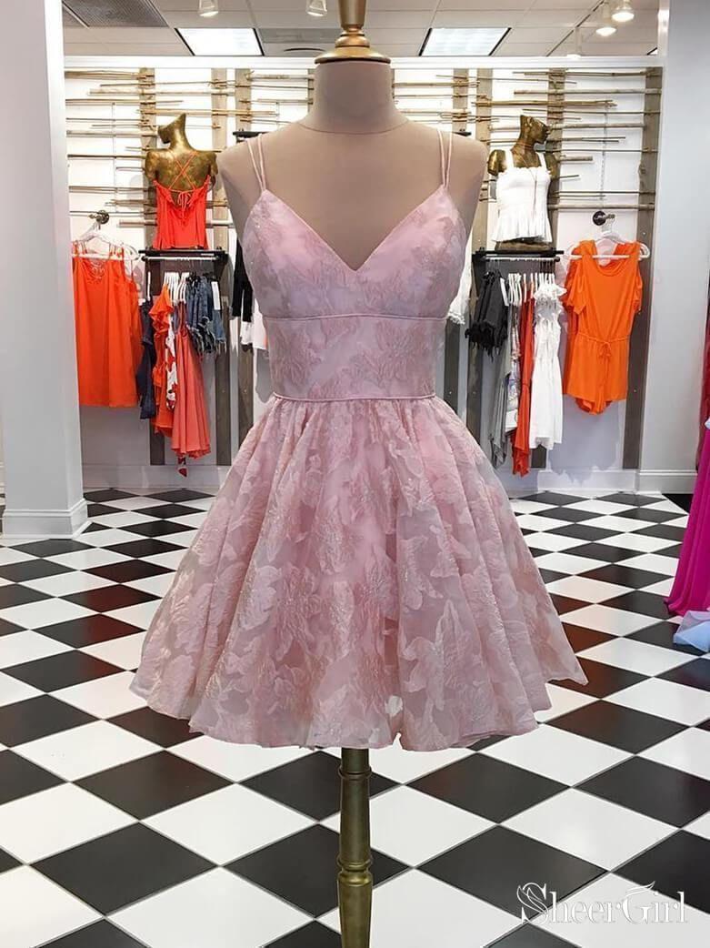 Spaghetti Strap Homecoming Dresses Jacquard V Neck Short Prom Dress ARD1691