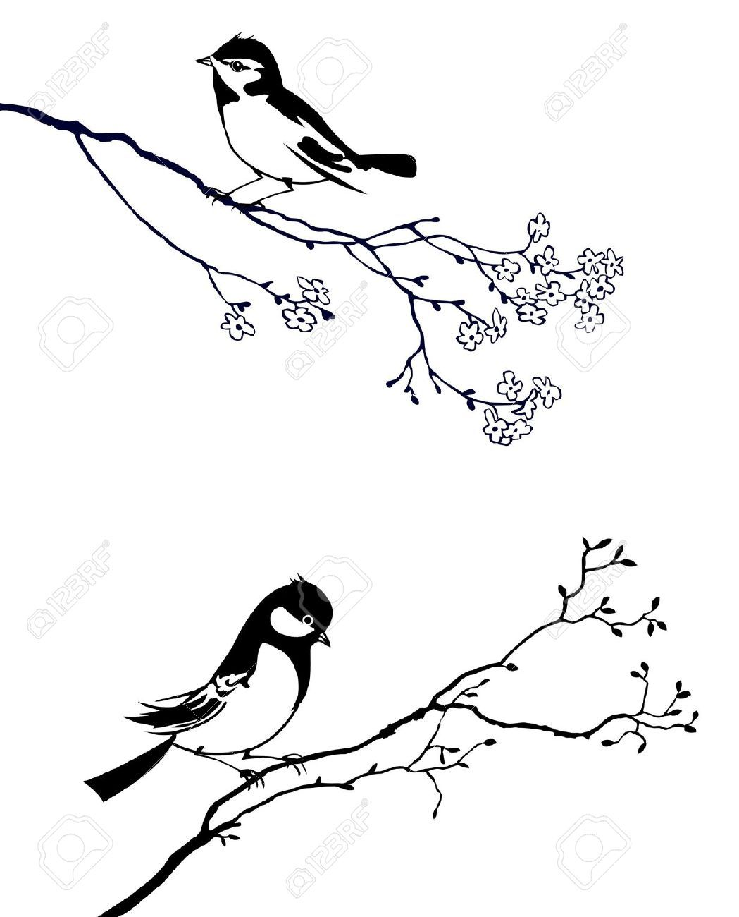 Tree Branch Silhouette With Bird Tattoo