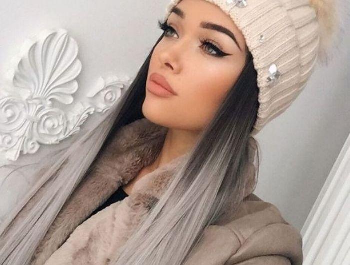 braune haare grau fà rben lange glatte haare im ombre look