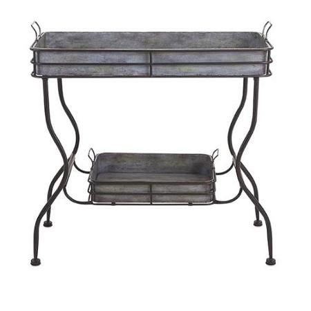 """32"""" Rustic Silver Galvanized Metal Accent Table with Removable Serving Trays - Walmart.com"""