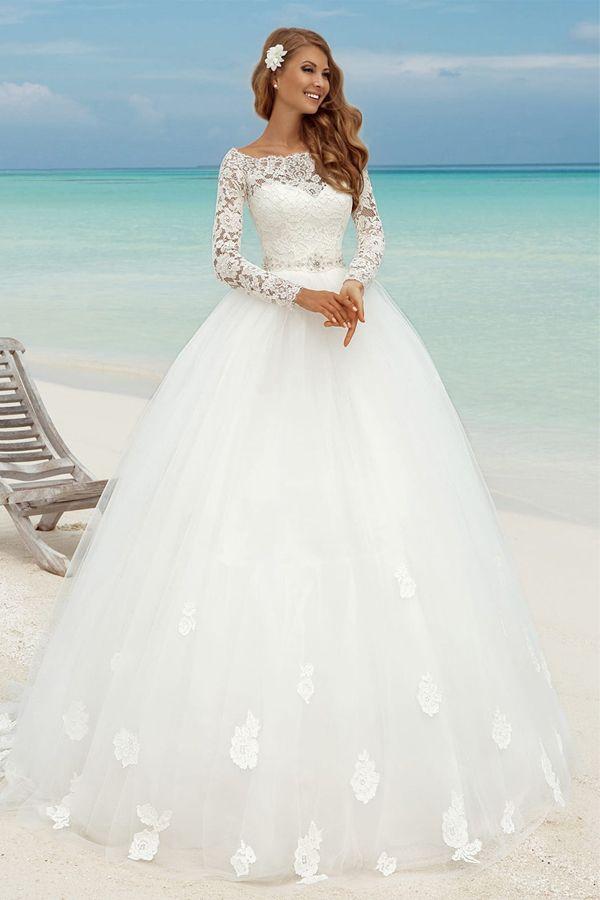 b0bd4c4d99 Fabulous Lace Bateau Neckline Ball Gown Wedding Dresses With Lace Appliques