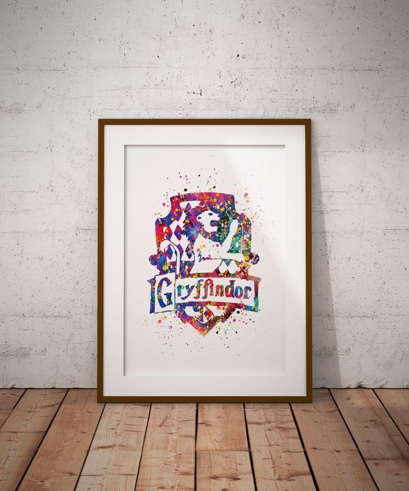 Gryffindor Crest Watercolor Art Poster Print Harry Potter Fan Art Wall Decor