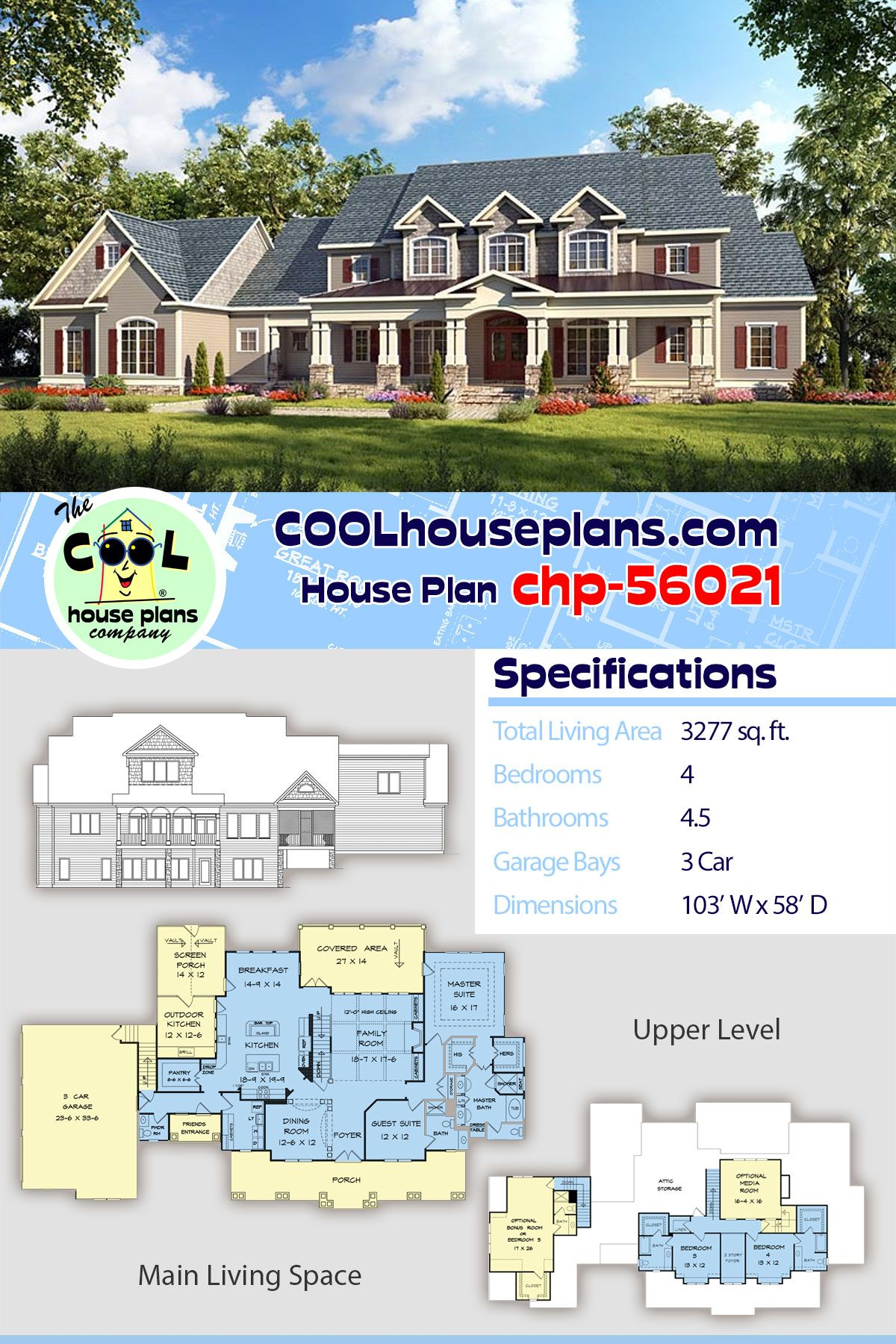 House Plan Chp 56021 House Plans Home Design Floor Plans Country House Plan