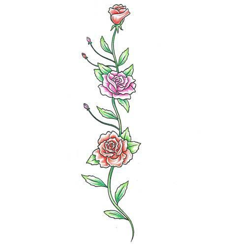 Flowers And Vines Tattoo Designs Colorful Rose Vine Tattoo