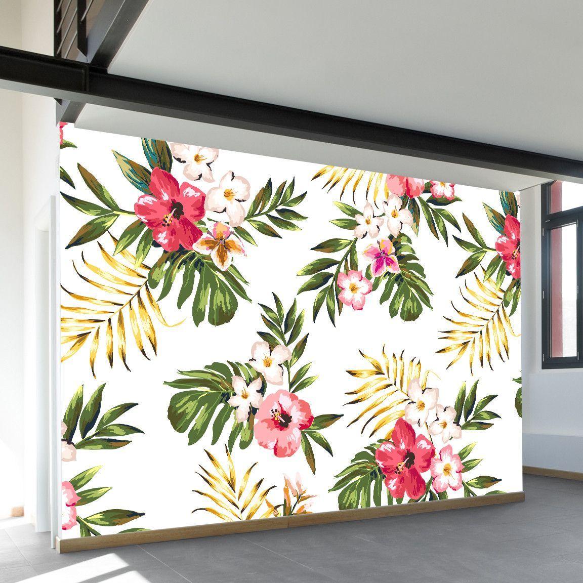 Tropical Flowers Two Wall Mural Wall Murals Mural Tropical Fabric Prints