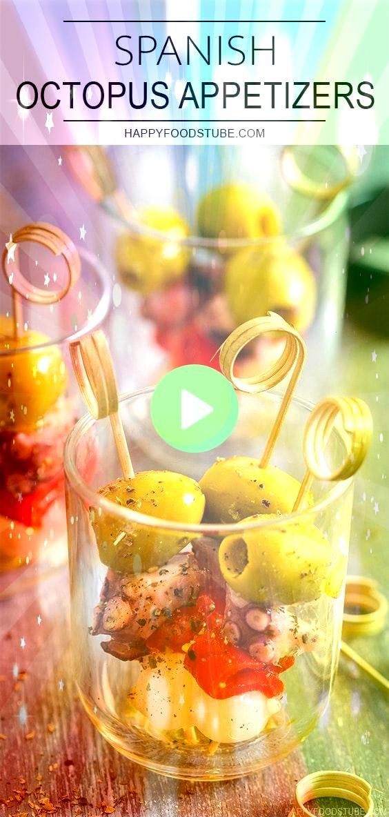 is an easy Spanish octopus appetizer recipe Olives cocktail onions roasted red peppers and cooked octopus on cocktail sticks seasoned with herbs and olive oilThis is an e...