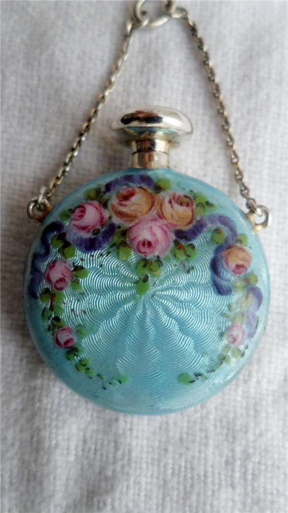 1900 Silver Double Guilloche Enamel Chatelaine Scent
