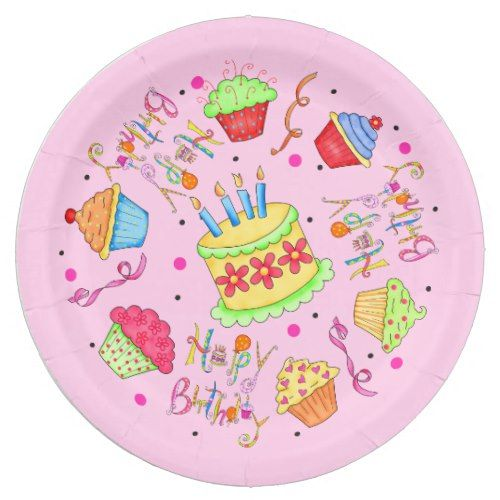 Colorful Pink Cupcakes and Cake Happy Birthday Paper Plate  sc 1 st  Pinterest : cupcake paper plates - Pezcame.Com