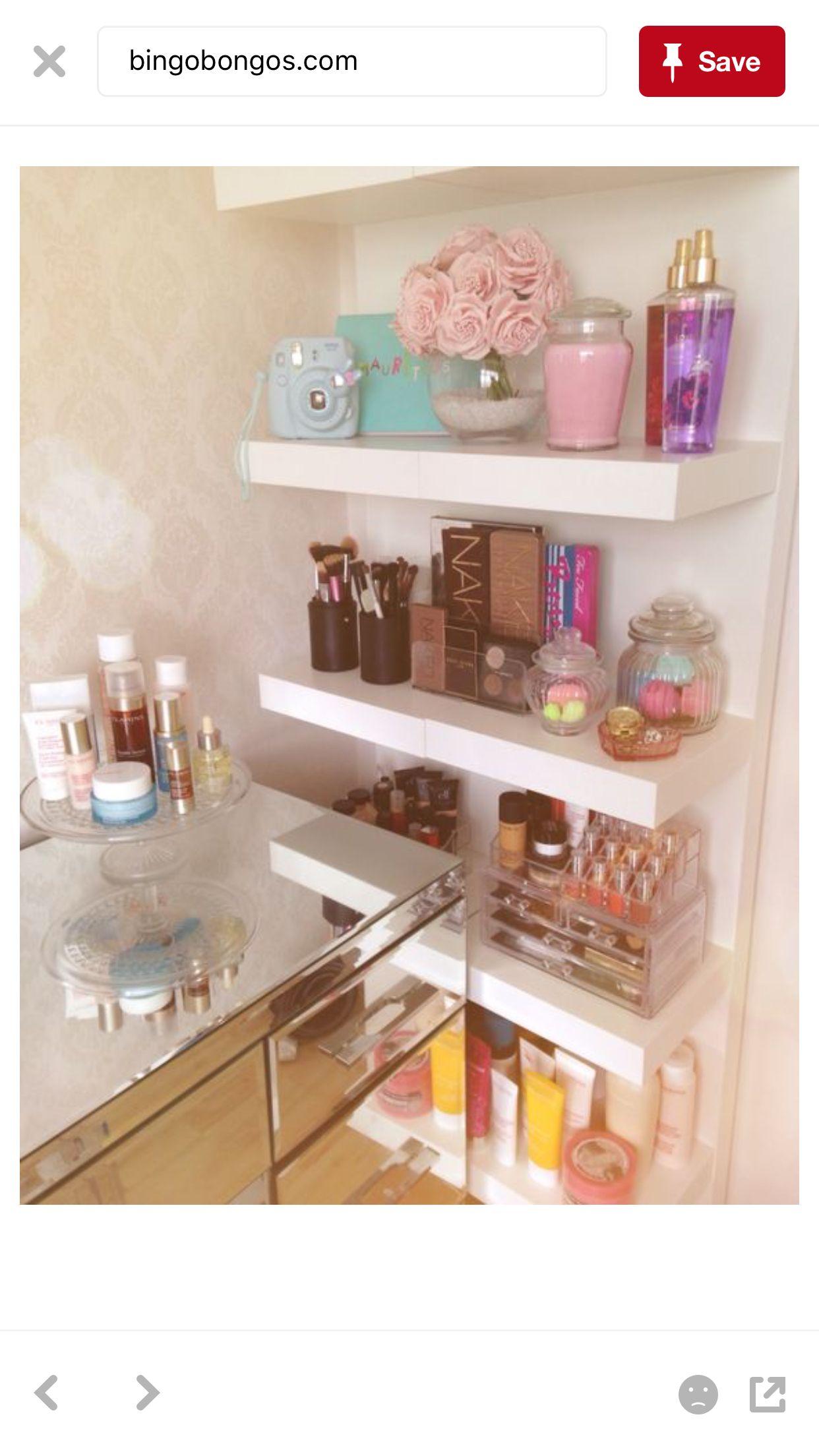 Makeup vanity Glam room, Bathroom storage shelves, Ikea