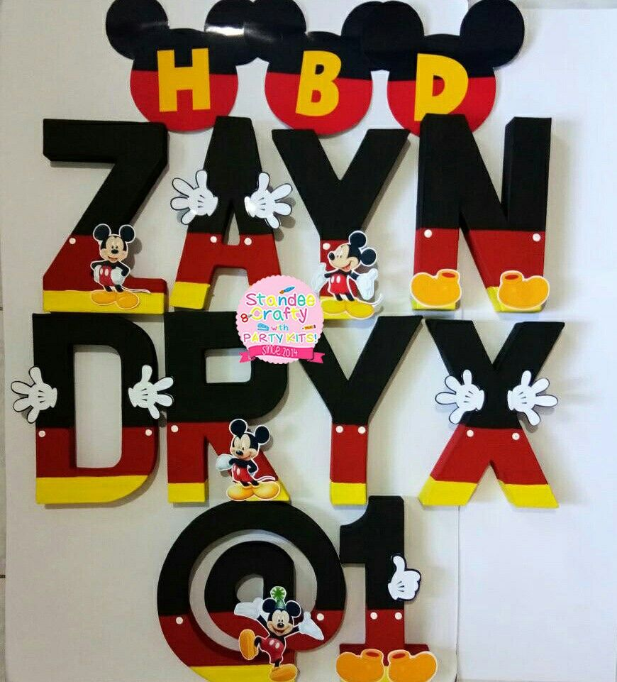 DISNEY MICKEY MOUSE BIRTHDAY PARTY BANNER DECORATION BUNTING small 8 HEADS