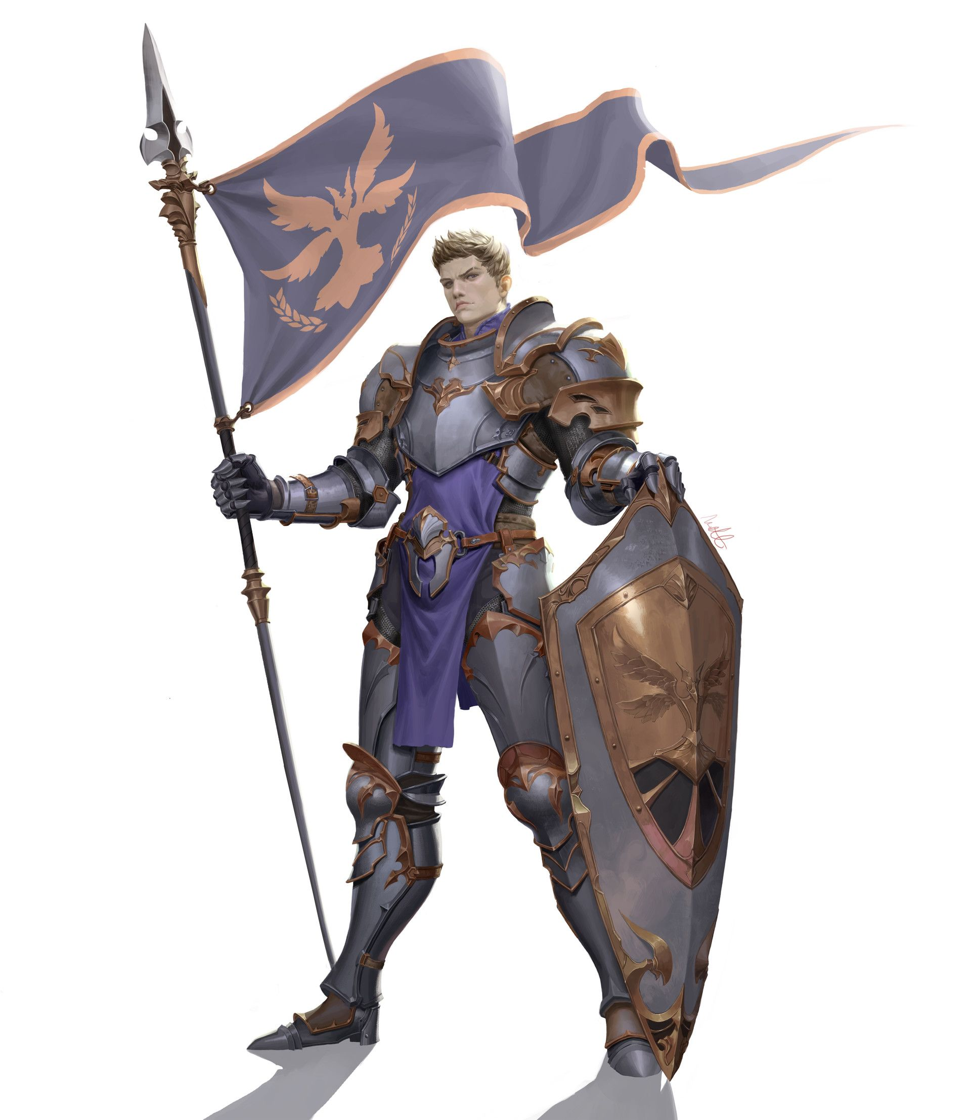 ArtStation shield flag knight man, Gwangbeom Kho