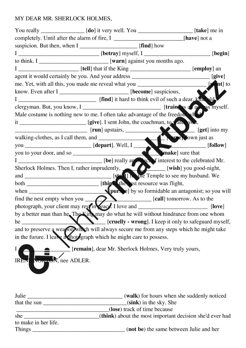 Mixed Grammar - Tenses – Englisch | Englisch Unterrichtsmaterialien ...