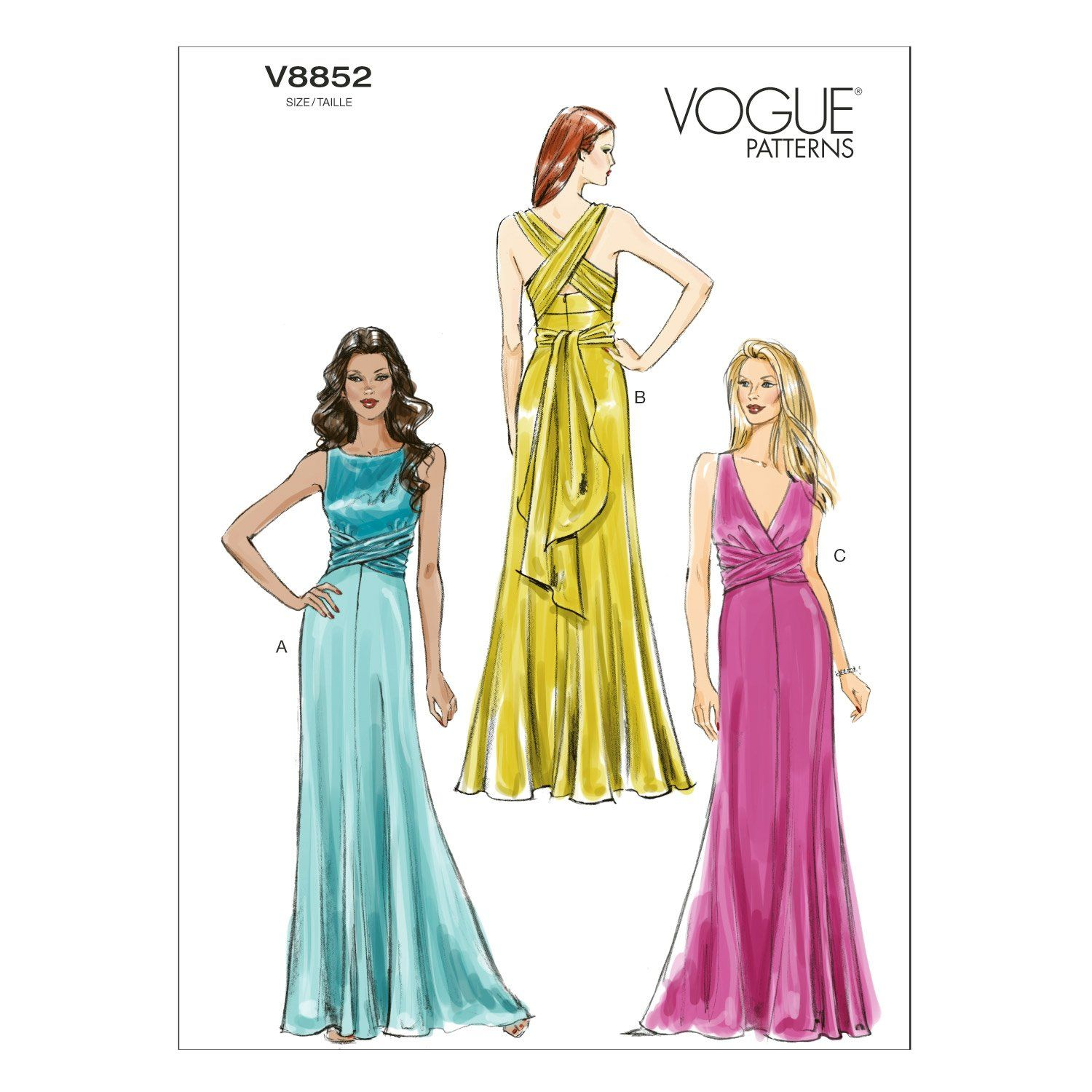 Vogue patterns v size d missesu dress wedding