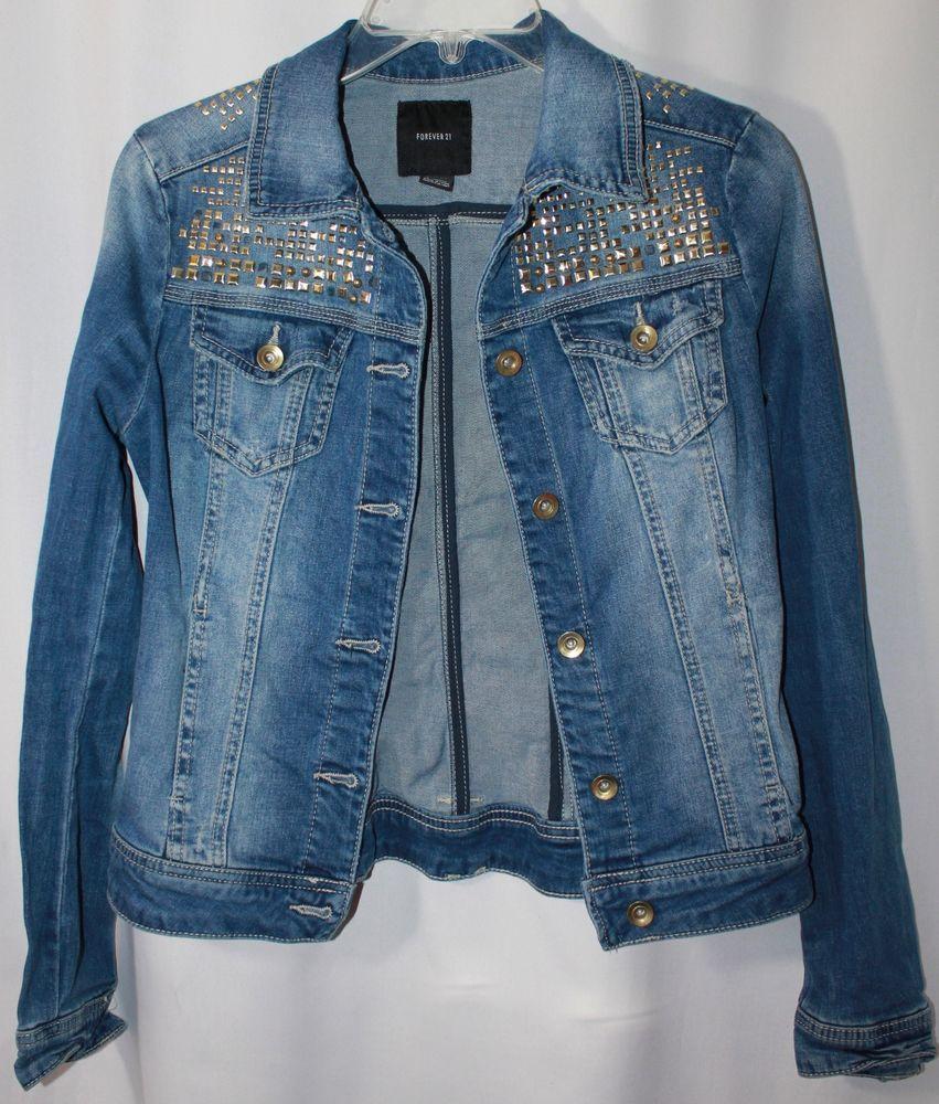 Forever 21 Blue Denim Jean Jacket Gold Rivets Women Small Blue Denim Jeans Jean Jacket Jackets [ 1000 x 851 Pixel ]
