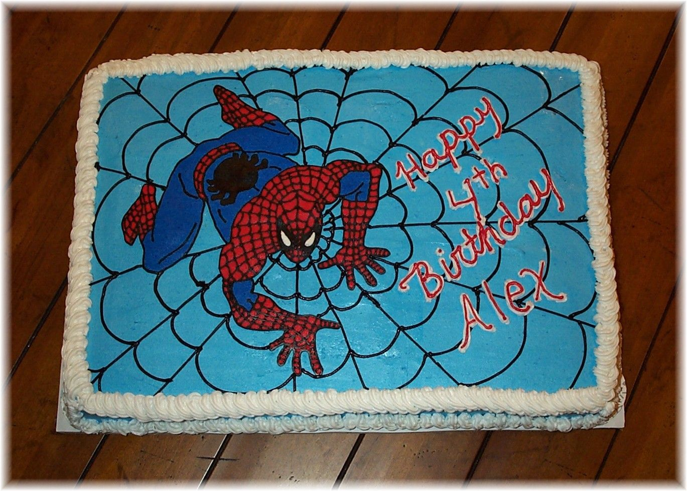 spiderman cake fbct full sheet cake 1 2 choc 1 2 yellow butter fun to make and the birthday. Black Bedroom Furniture Sets. Home Design Ideas