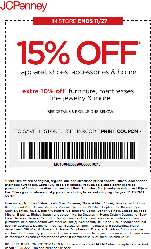 Pinned November 23rd 15 Off At Jcpenney Or Online Via Promo Code Fallair Coupon Via The Coupons Jcpenney Coupons Free Printable Coupons Printable Coupons