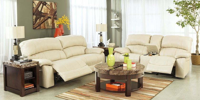 Cream Leather Recliner Sofa Set