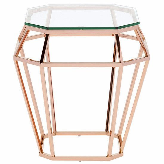 Rose Gold Mirrored Coffee Table: Rose Gold Diamond Side Table