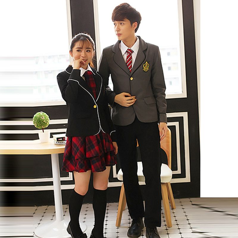 British japanese school uniform for girls and boys winter Senior High  School Cardigan shirt Plaid skirt