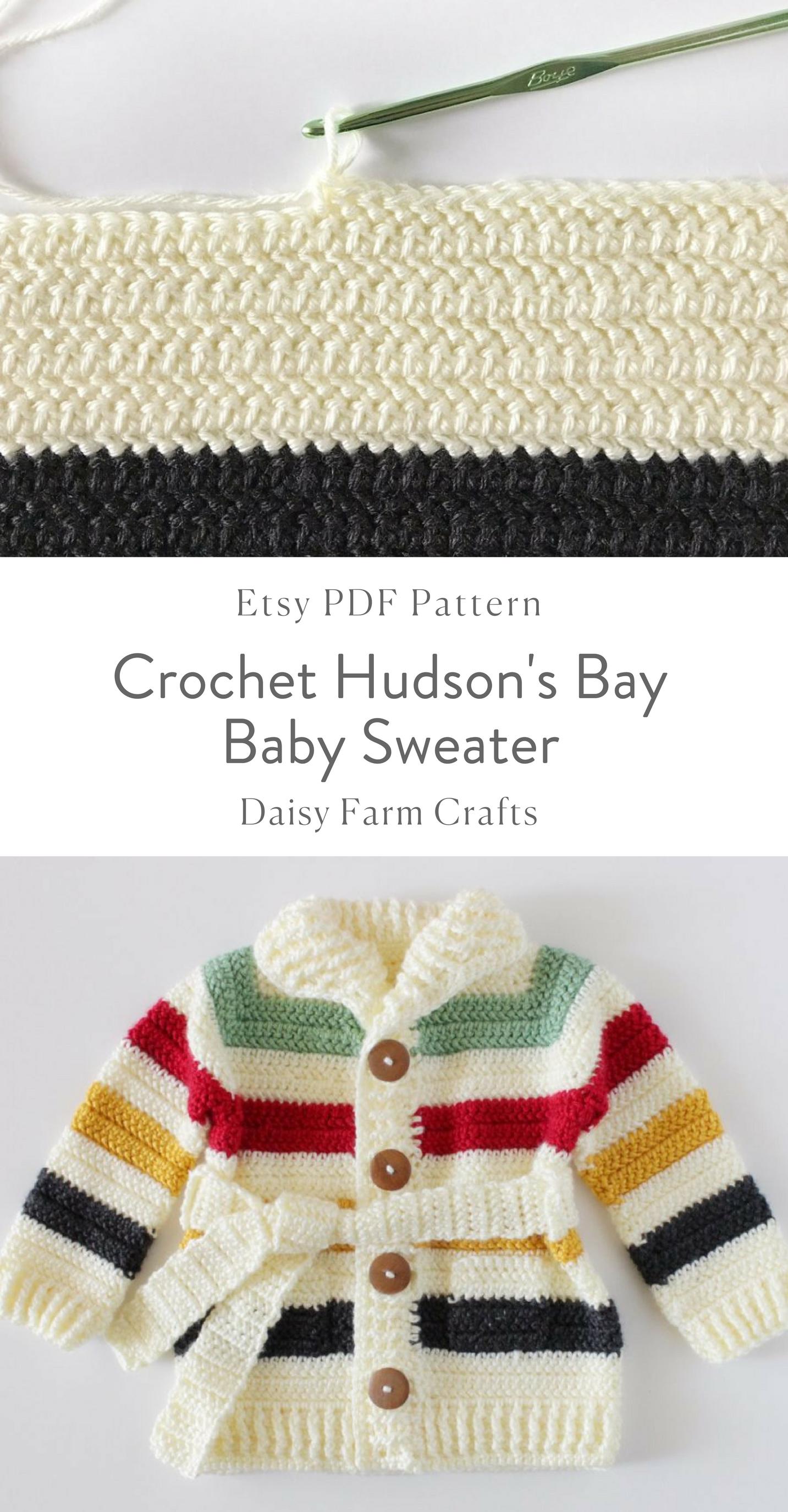 ae3995878b81 Etsy PDF Pattern - Crochet Hudson s Bay Baby Sweater