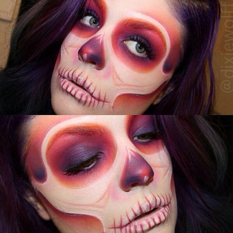 maquillage d 39 halloween sugar skull squelette mexicain en d grad de rouge et de violet. Black Bedroom Furniture Sets. Home Design Ideas